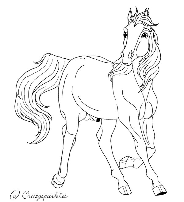 600x661 Trotting Stallion Lineart By Crazy Sparkles
