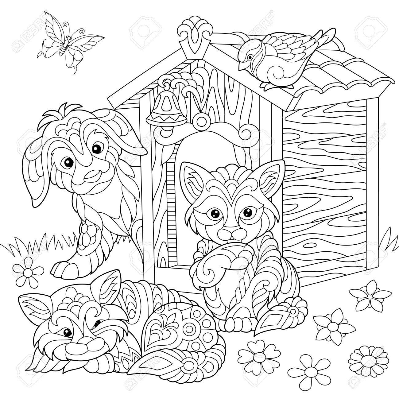 1300x1300 Coloring Page Of Dog, Two Cats, Sparrow Bird And Butterfly