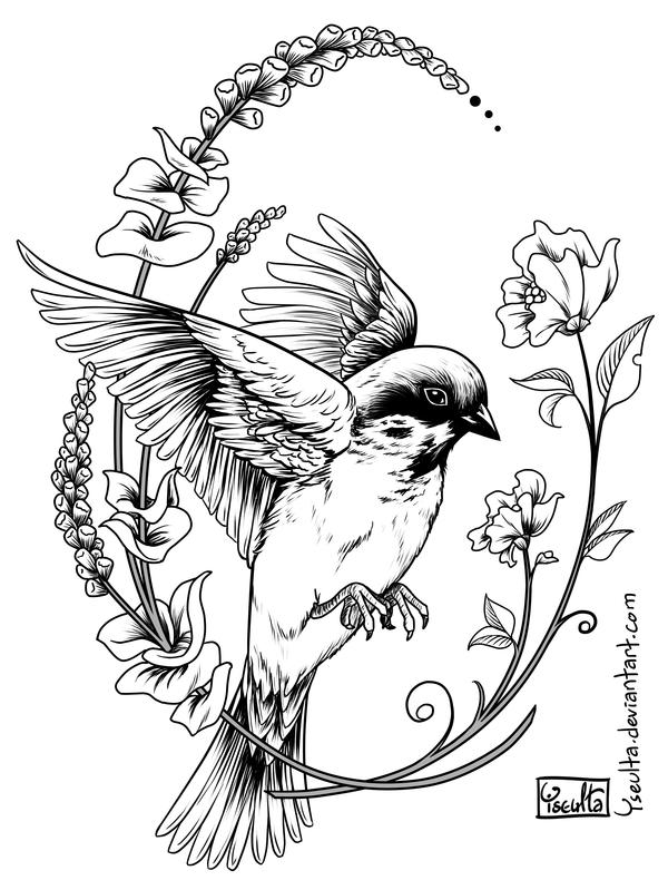 600x799 Silly Sparrow Tattoo By Yseulta