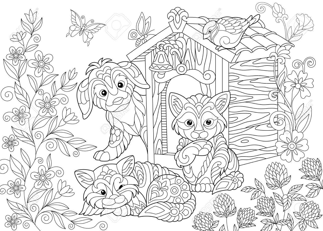 1300x928 Coloring Page Of Dog, Two Cats, Sparrow Bird And Butterflies
