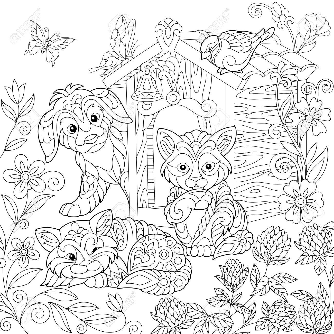 1300x1300 Coloring Page Of Puppy, Cat, Sparrow Bird, Dog Booth, Clover