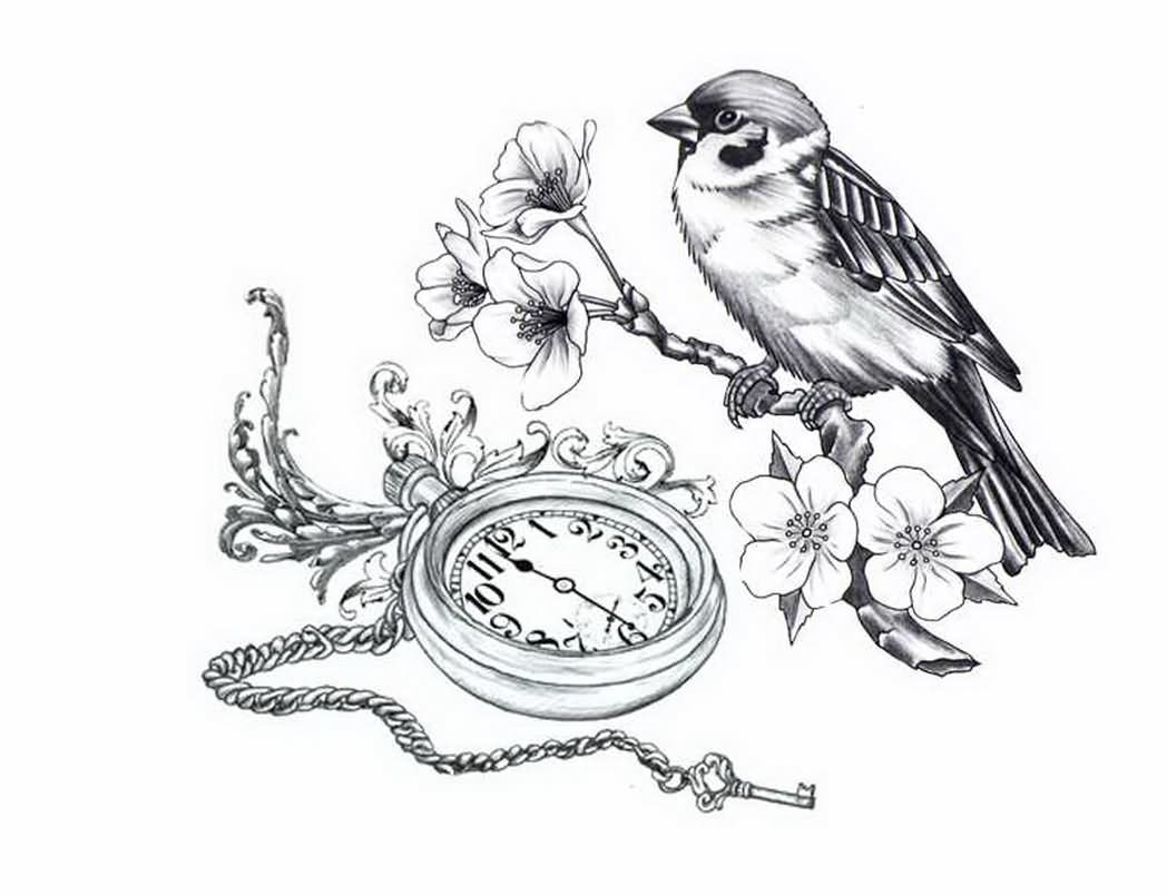 Sparrow Drawing Tattoo