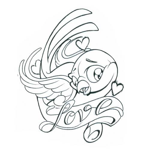 500x500 Love Birds Tattoo Drawing