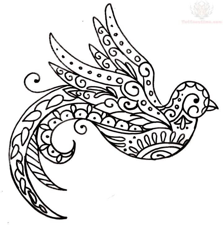 720x727 Nice Black Ink Flying Swallow Amazing Paisley Pattern Tattoo