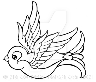 400x342 Traditional Outline Sparrow Tattoo Design By Metacharis
