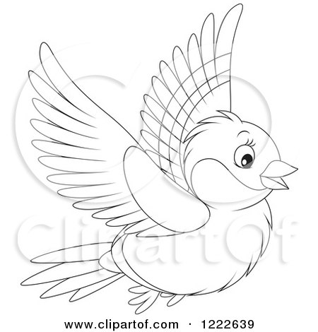 450x470 Clipart Of An Outlined Cute Bullfinch Bird Flying