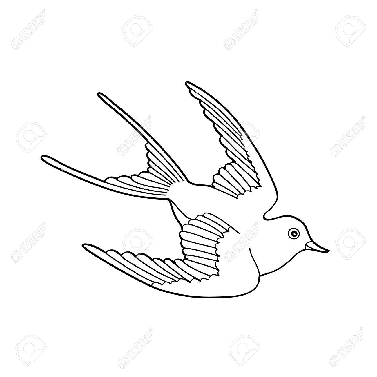1300x1300 Contour Image Of Bird Flying Hand Drawn Isolated On White