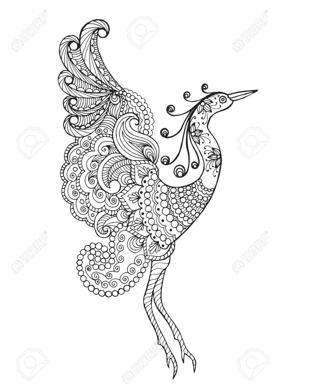 1040x1300 Fantasy Bird. Black White Hand Drawn Doodle Animal. Ethnic