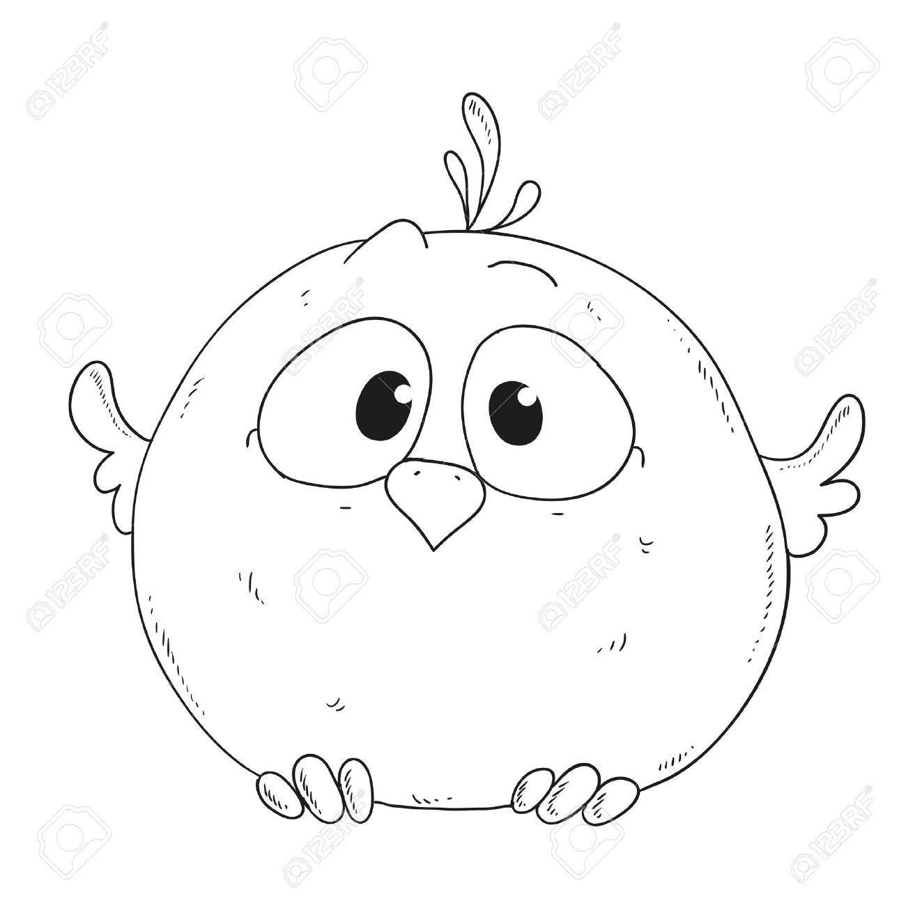 1300x1300 Cartoon Cute Sparrow. Character For Coloring Book Vector Royalty