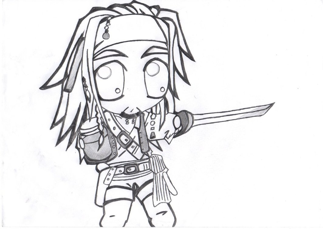 1063x752 Chibi Captain Jack Sparrow By Burntfury