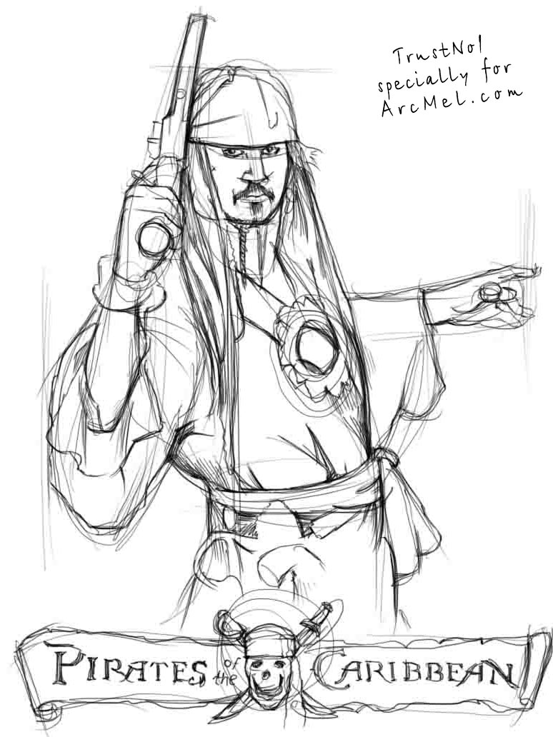 774x1032 How To Draw Captain Jack Sparrow Step By Step 3 Kaptan Jack