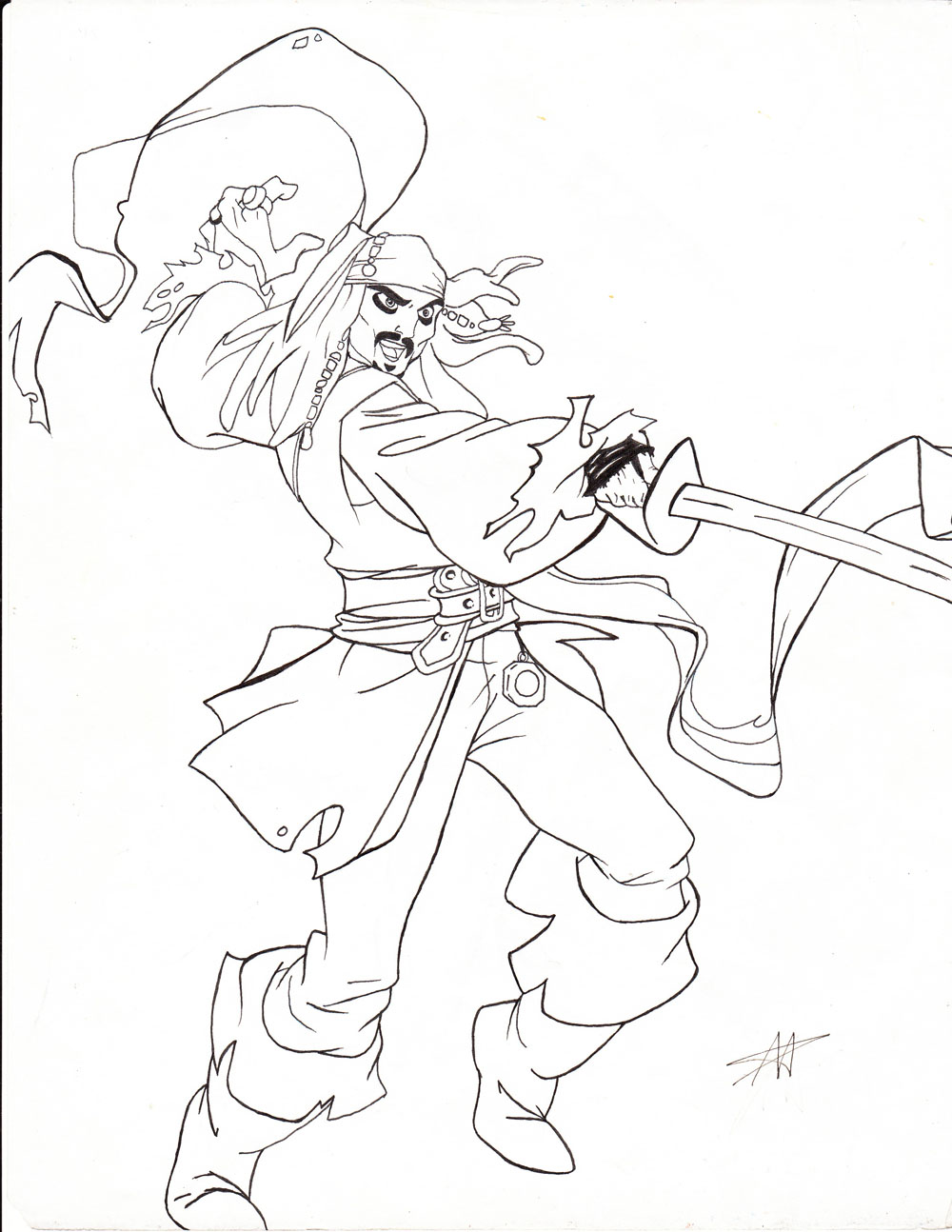 1000x1294 Captain Jack Sparrow Line Art By Disneyfan 01