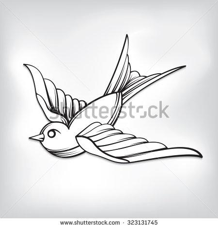 450x470 Black And White Sparrow Tattoo Design Sample Tattoo