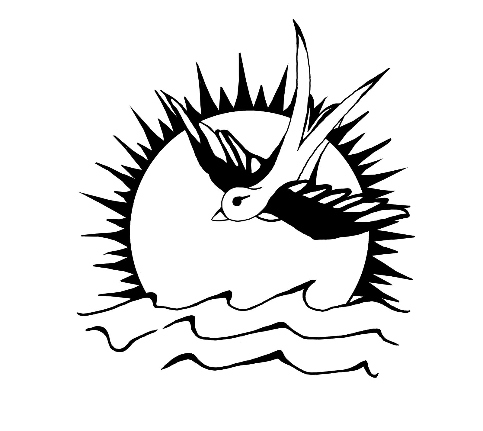 1600x1427 Black And White Sun And Flying Sparrow Tattoo Design By Pantherklaue