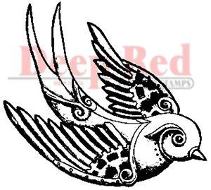300x269 Deep Red Rubber Stamp Steampunk Sparrow Tattoo Design Bird Ebay