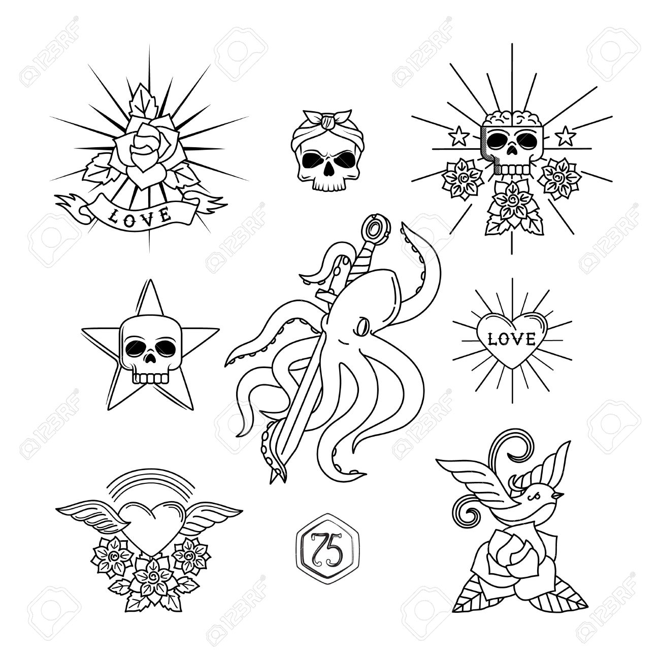 1300x1300 Tattoo Vector Elements. Linear Tattoos With Skull And Flowers