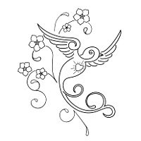 200x200 Tattoo Of Sparrow And Flowers, Memory, Love Tattoo