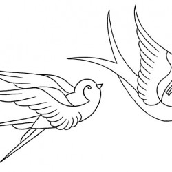 250x250 Traditional Sparrow Tattoo Outline