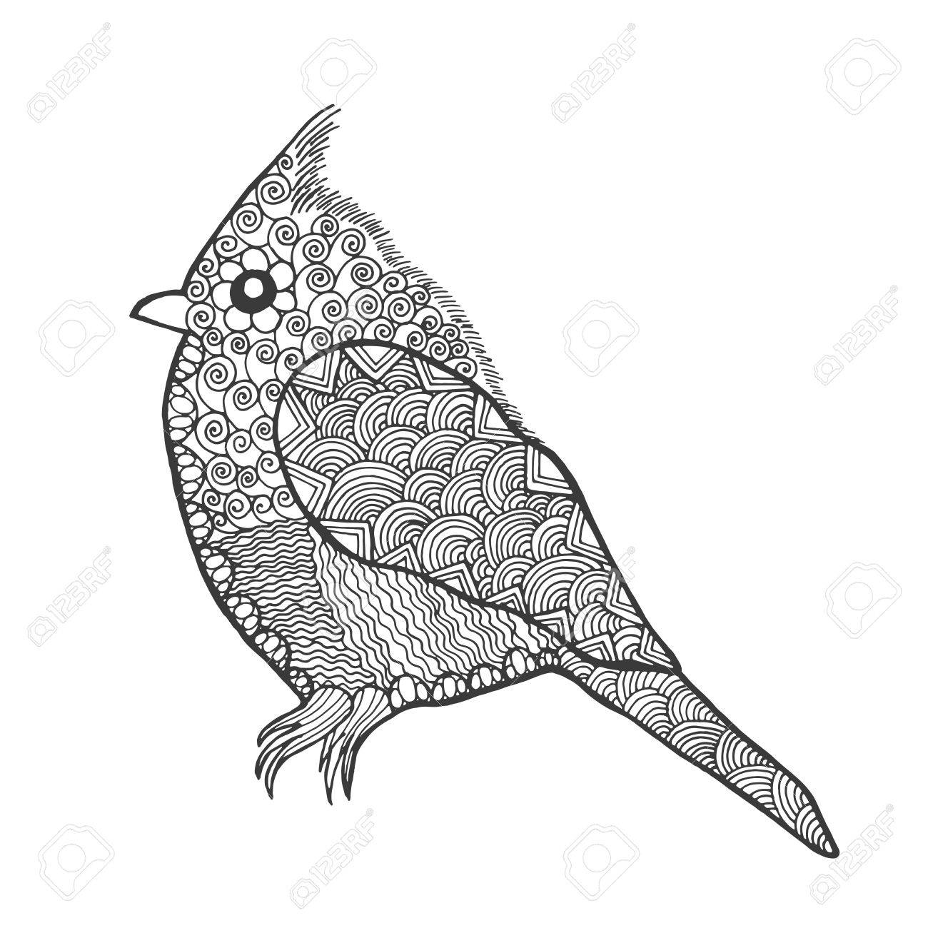 1300x1300 Zentangle Stylized Bird. Animals. Black White Hand Drawn Doodle