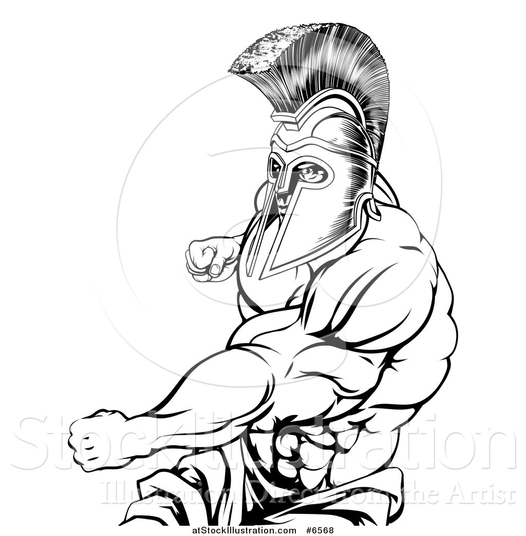 1024x1044 Vector Illustration Of A Black And White Muscular Strong Spartan