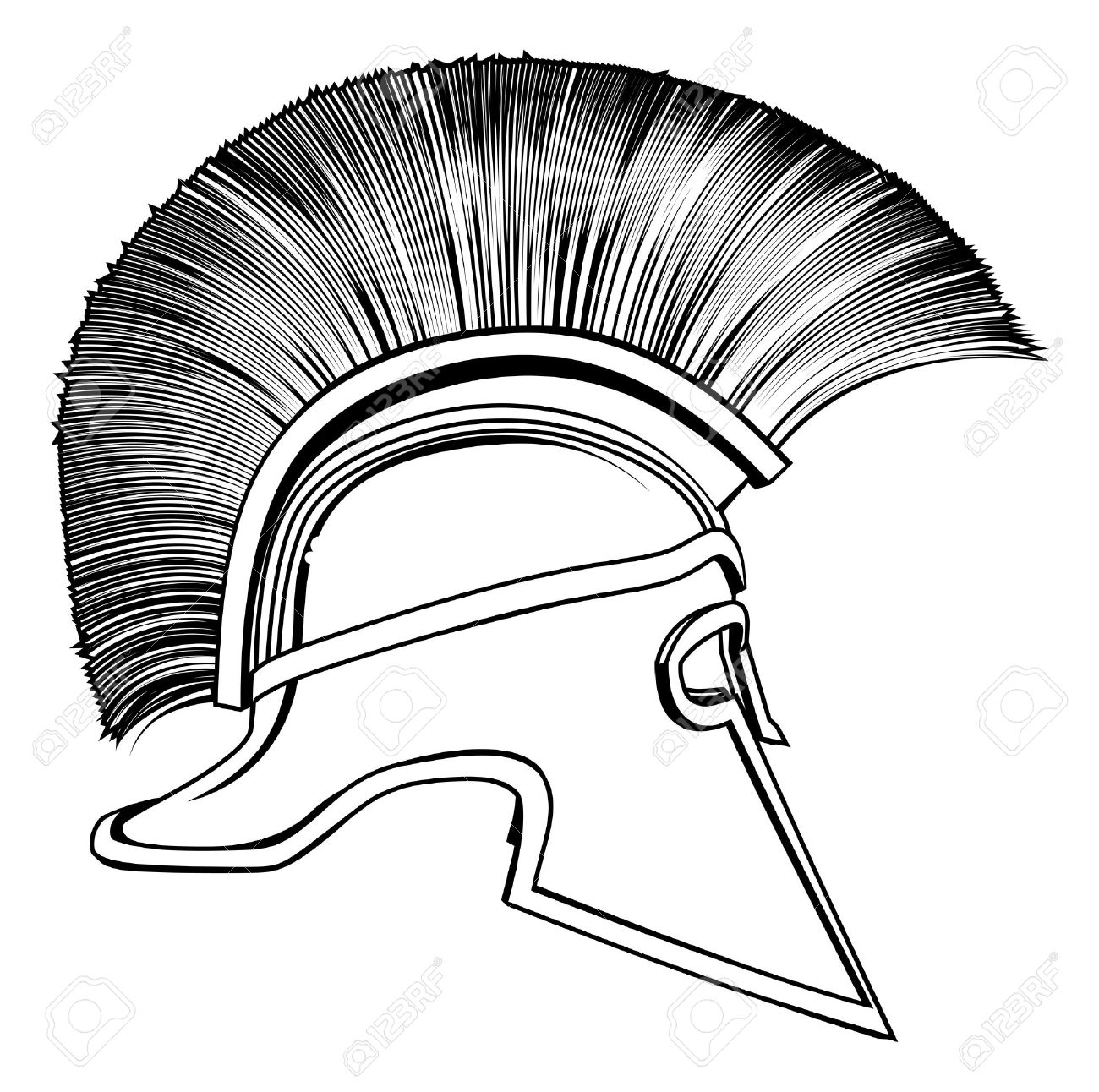 1300x1292 Black And White Illustration Of A Side On Ancient Greek Warrior