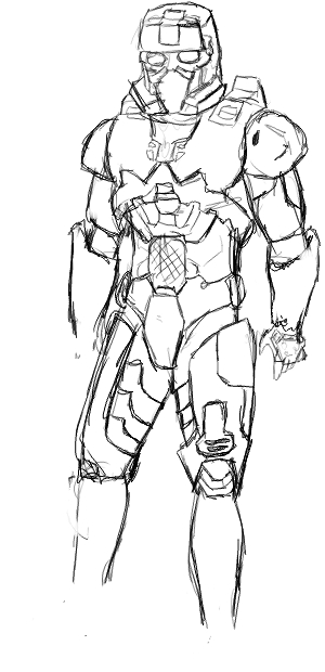 300x620 Halo 3 Eod Spartan Sketch By Kwame The Ninja