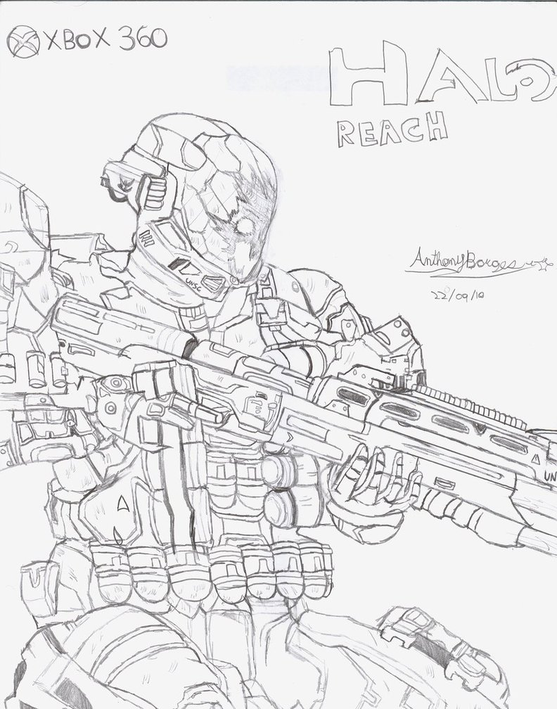 792x1008 Halo Reach Spartan Drawing By Hotfeet444
