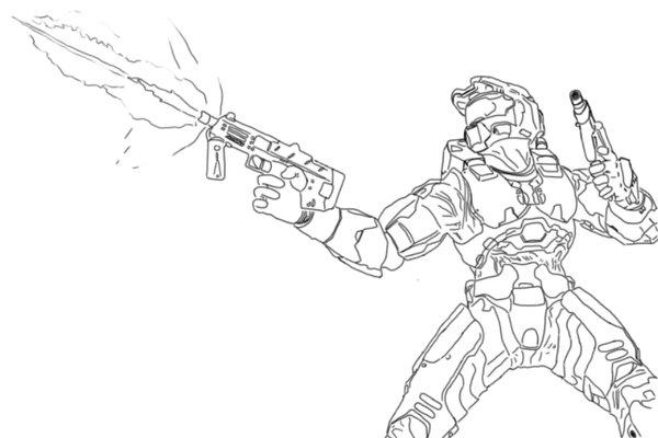 600x400 Halo Spartan Coloring Pages Preschool In Pretty Draw Printable
