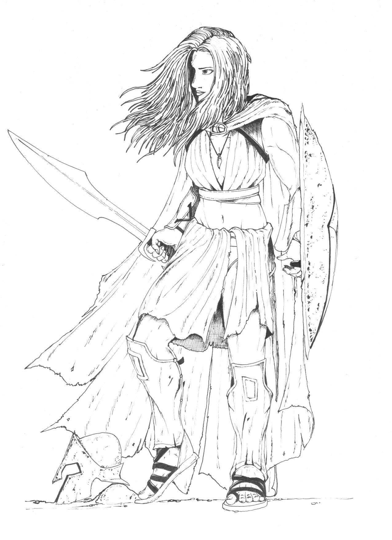 1275x1755 Lineart For Female Spartan By Schwarze1