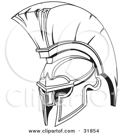 450x470 Clipart Illustration Of A Black And White Spartan Or Trojan Helmet