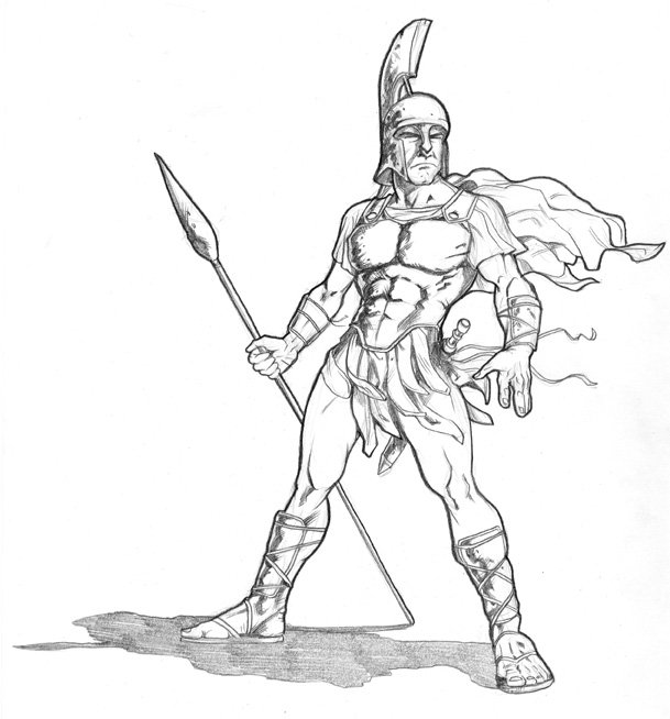 609x654 Spartan Warrior, In Jeff West's Book And Web Illustrations Comic