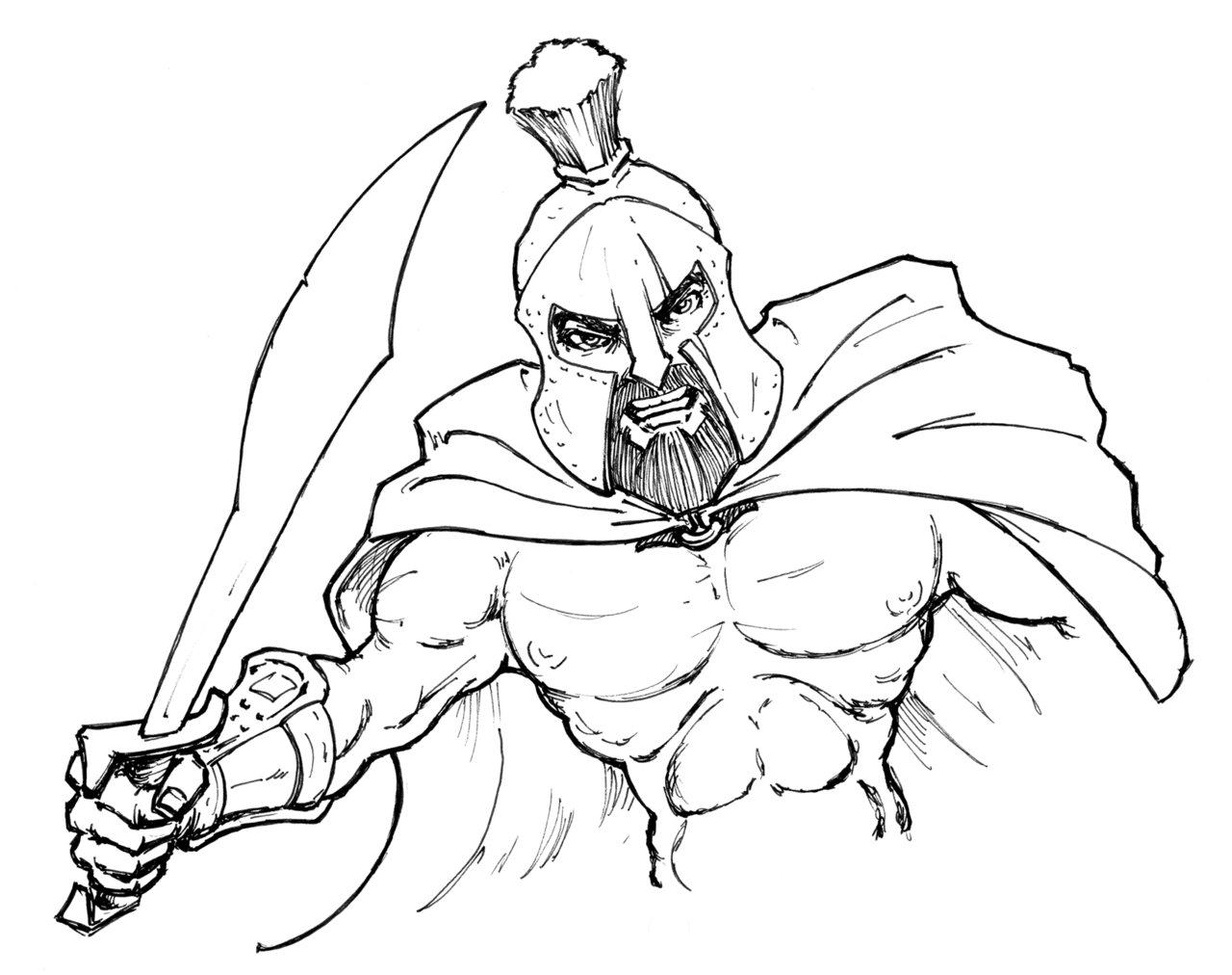 1280x1012 Spartan Inked By Johnrose Illustrator
