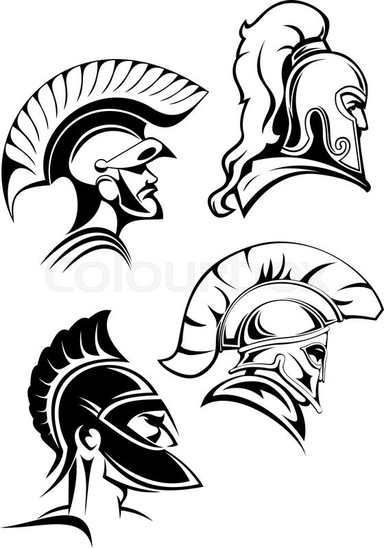 560x800 Heads Of Spartan Warriors Or Gladiators Wearing In Traditional
