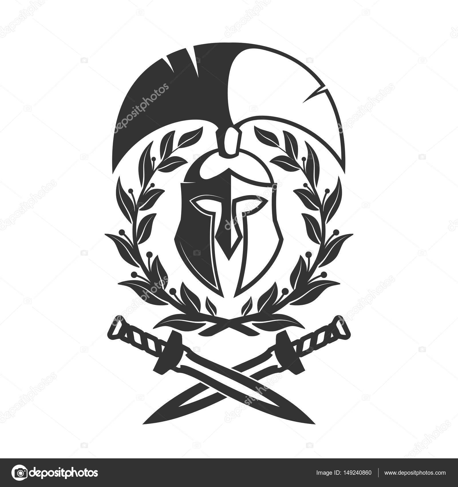 1600x1700 Military Symbol, Spartan Helmet In Laurel Wreath. Stock Vector