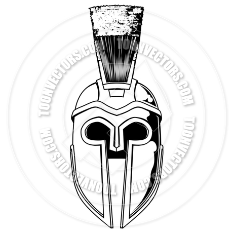 460x460 Monochrome Spartan Helmet Illustration By Geoimages Toon Vectors