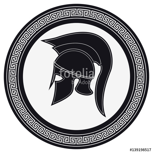 500x500 Ancient Greek Helmet With A Crest On The Shield On A White