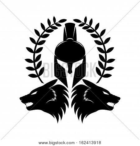 450x470 Spartan Helmet Wolf Heads On White Vector Amp Photo Bigstock
