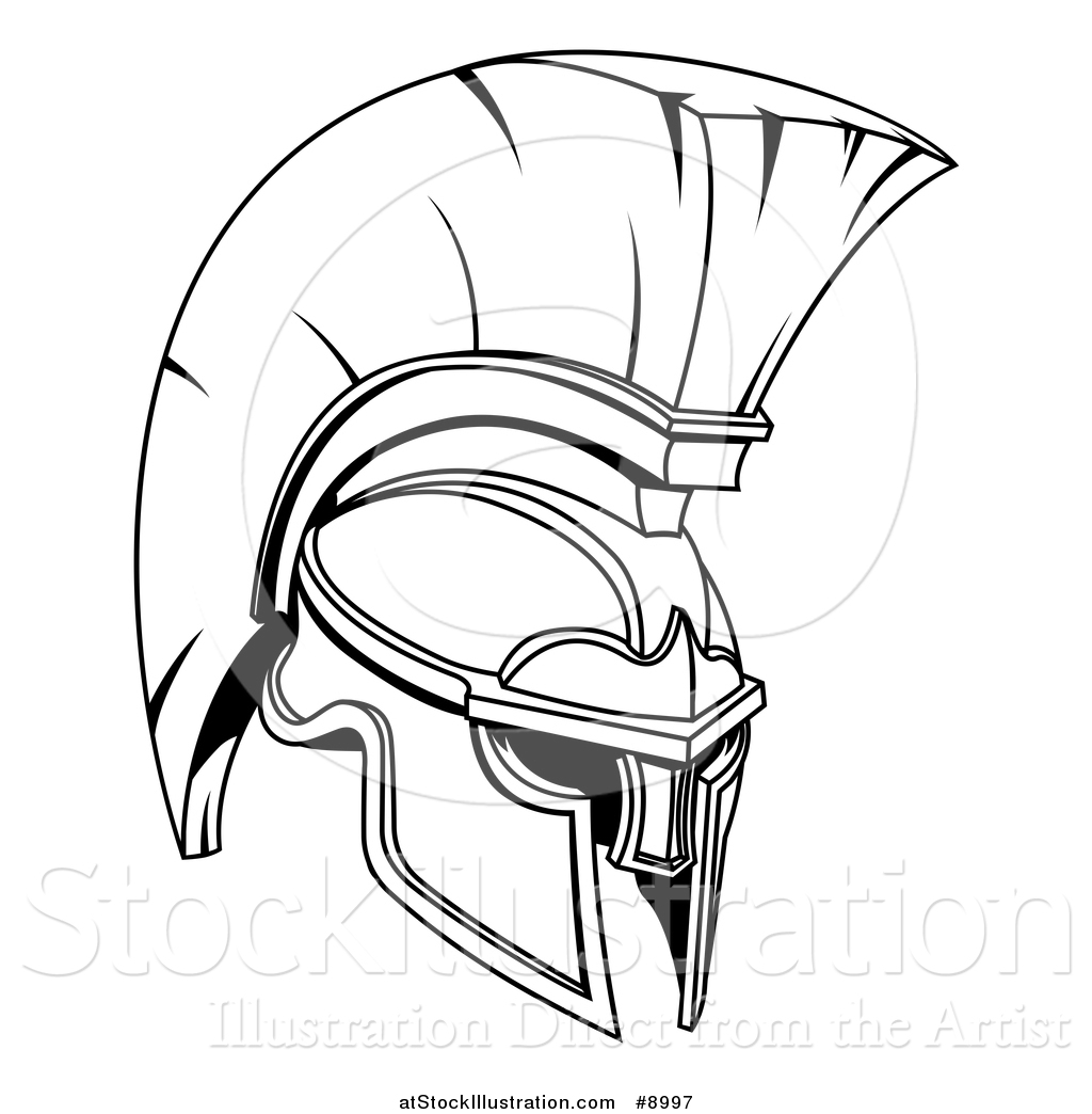 1024x1044 Vector Illustration Of A Black And White Lineart Spartan Or Trojan