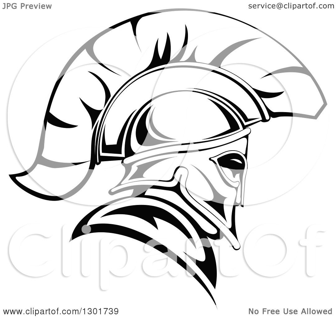 1080x1024 Clipart Of A Black And White Angry Spartan Warrior In A Helmet 2