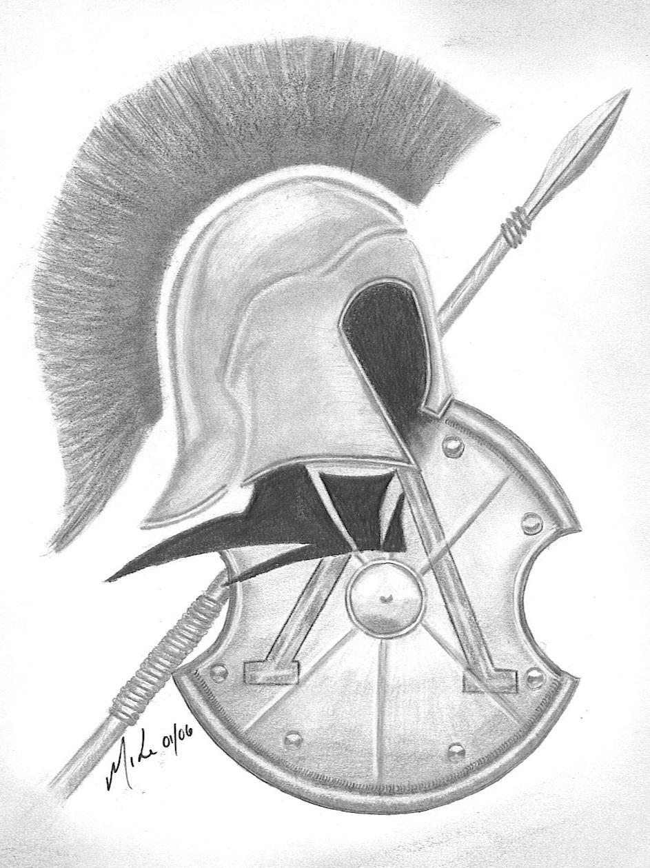 943x1259 Drawn Tattoo Spartan Warrior