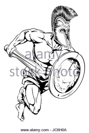 300x446 Illustration Of A Spartan Warrior Helmet And Shield Viewed