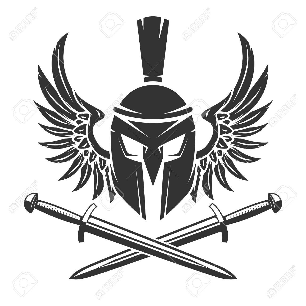 1300x1300 Spartan Helmet With Crossed Swords And Wings Isolated On White