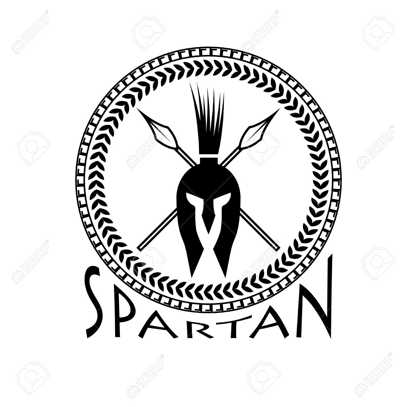 1300x1300 Spartan Helmet With Spears And Shield Royalty Free Cliparts