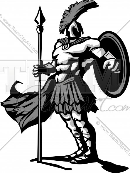 443x590 Spartan Or Trojan With Spear And Shield Vector Clipart Image