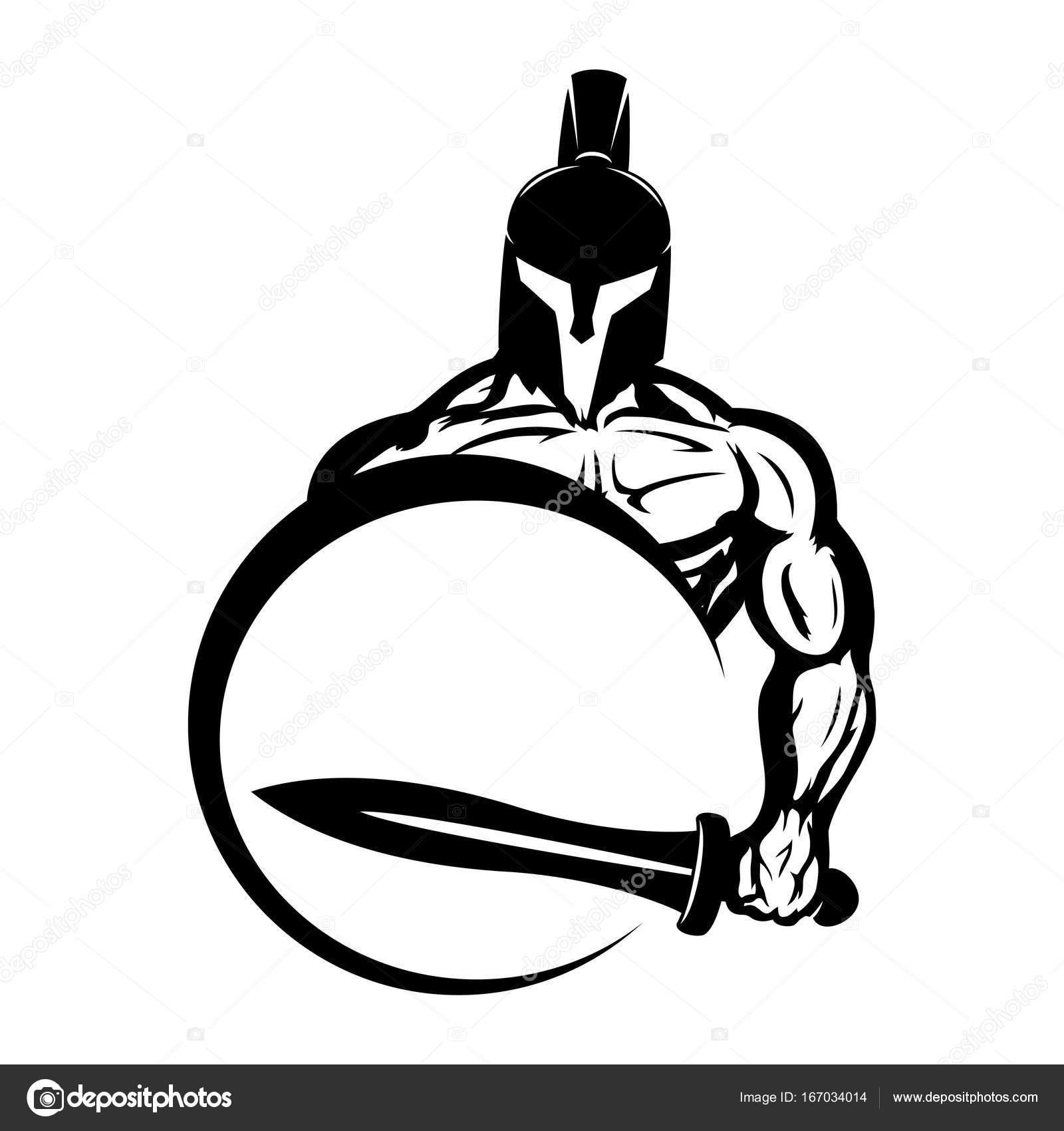 1600x1700 Spartan With A Sword And Shield. Stock Vector Taronin