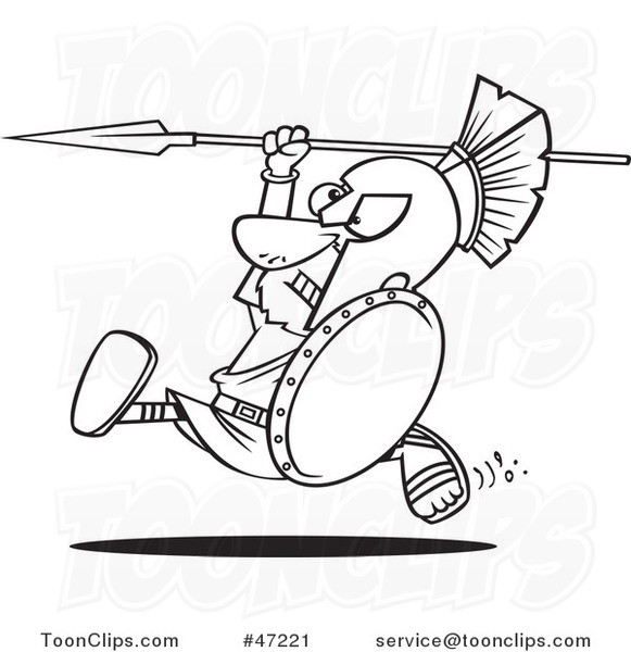 581x600 Black White Cartoon Spartan Warrior Running With A Spear