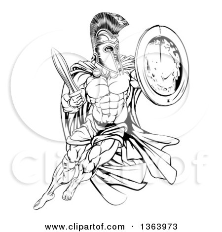 450x470 Clipart Of A Muscular Spartan Man In A Helmet Fighting And Jumping