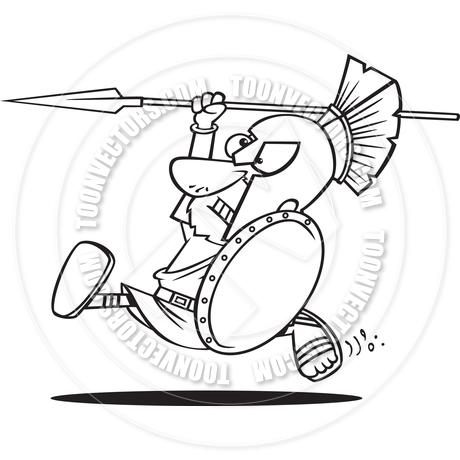 460x460 Cartoon Spartan Warrior Charging (Black Amp White Line Art) By Ron