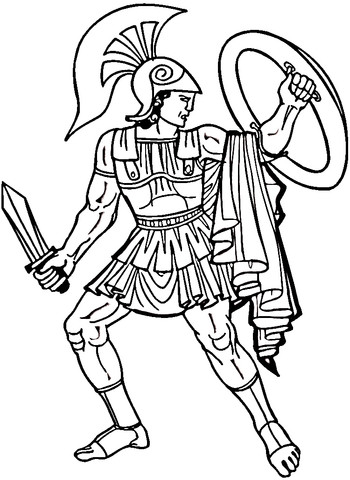 350x480 Spartan Coloring Pages