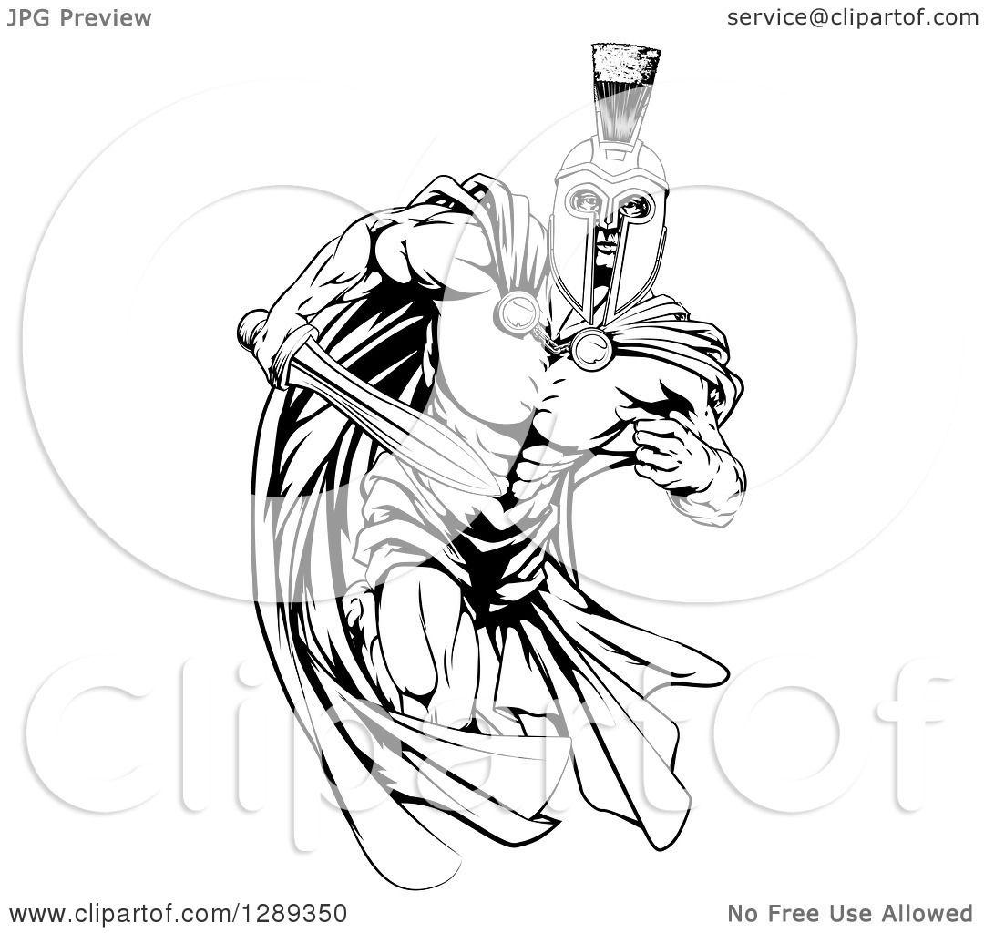 1080x1024 Clipart Of Blacknd White Muscular Spartan Warrior Man In